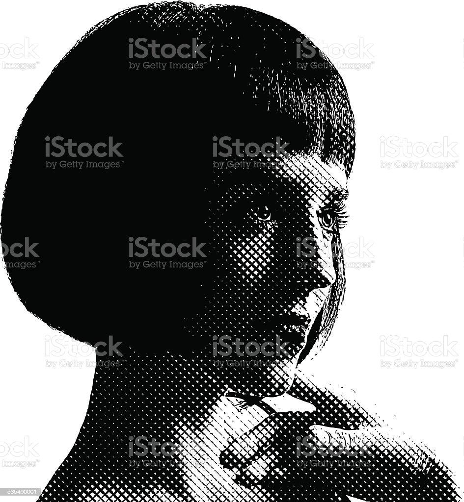 Portrait of a cute woman vector art illustration