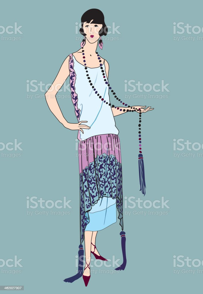 Portrait of a flapper girl (20's style). Retro fashion woman. royalty-free stock vector art