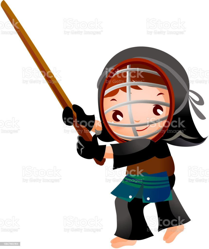 portrait of a girl in kendo fencer royalty-free stock vector art