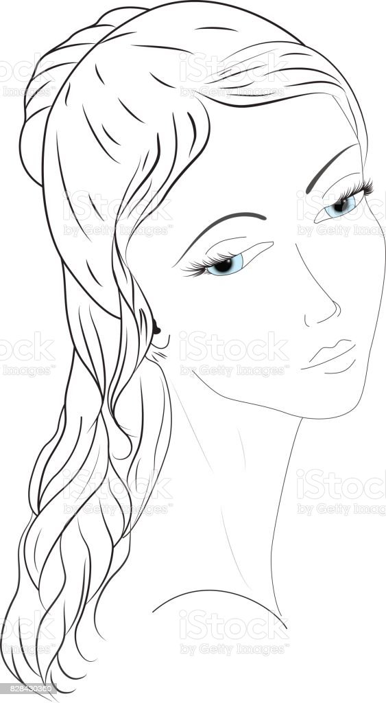 Portrait of a girl with a sky color eyes vector art illustration