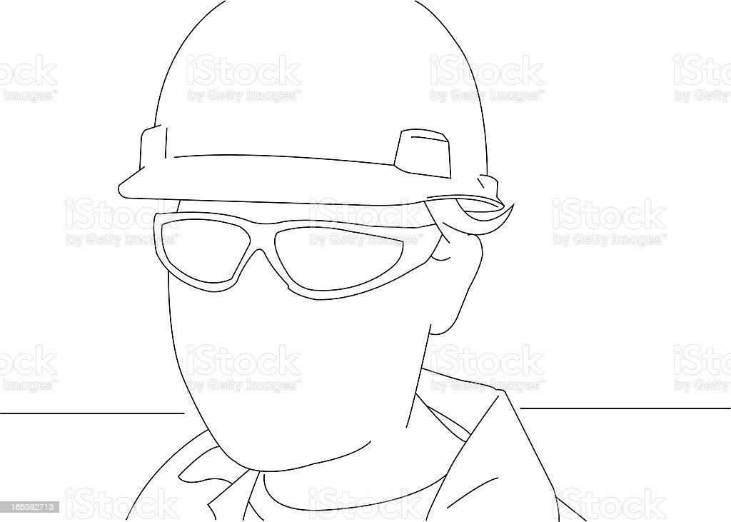 Portrait of a manual worker vector art illustration