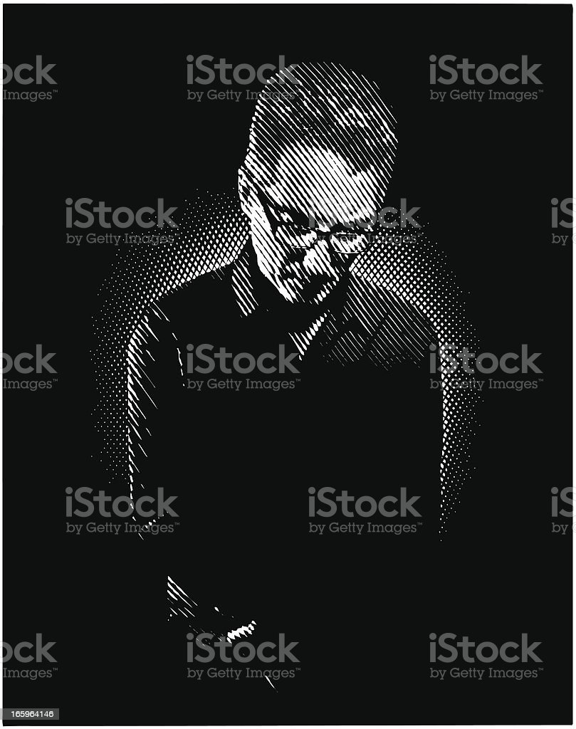 Portrait Of  A Sad Man royalty-free stock vector art