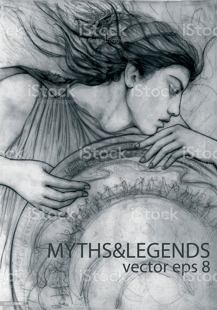 Portrait of a Woman_Mythology - Illustration vector art illustration