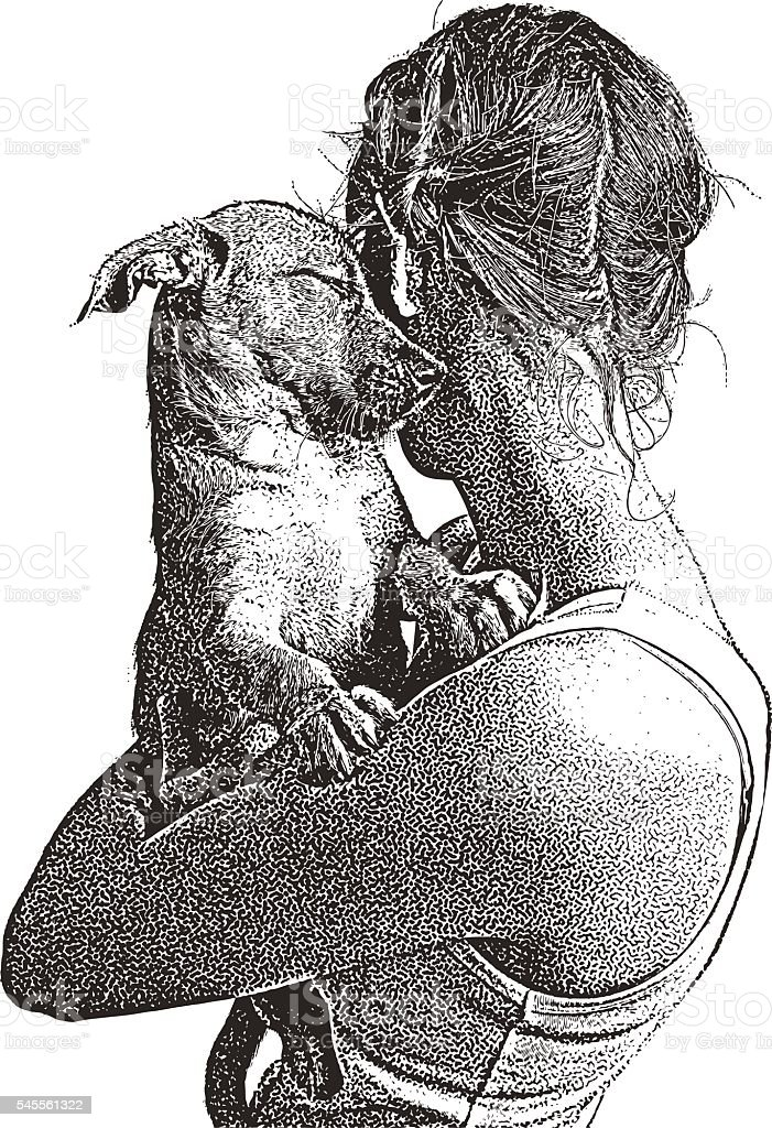 Portrait of a young woman embracing puppy vector art illustration