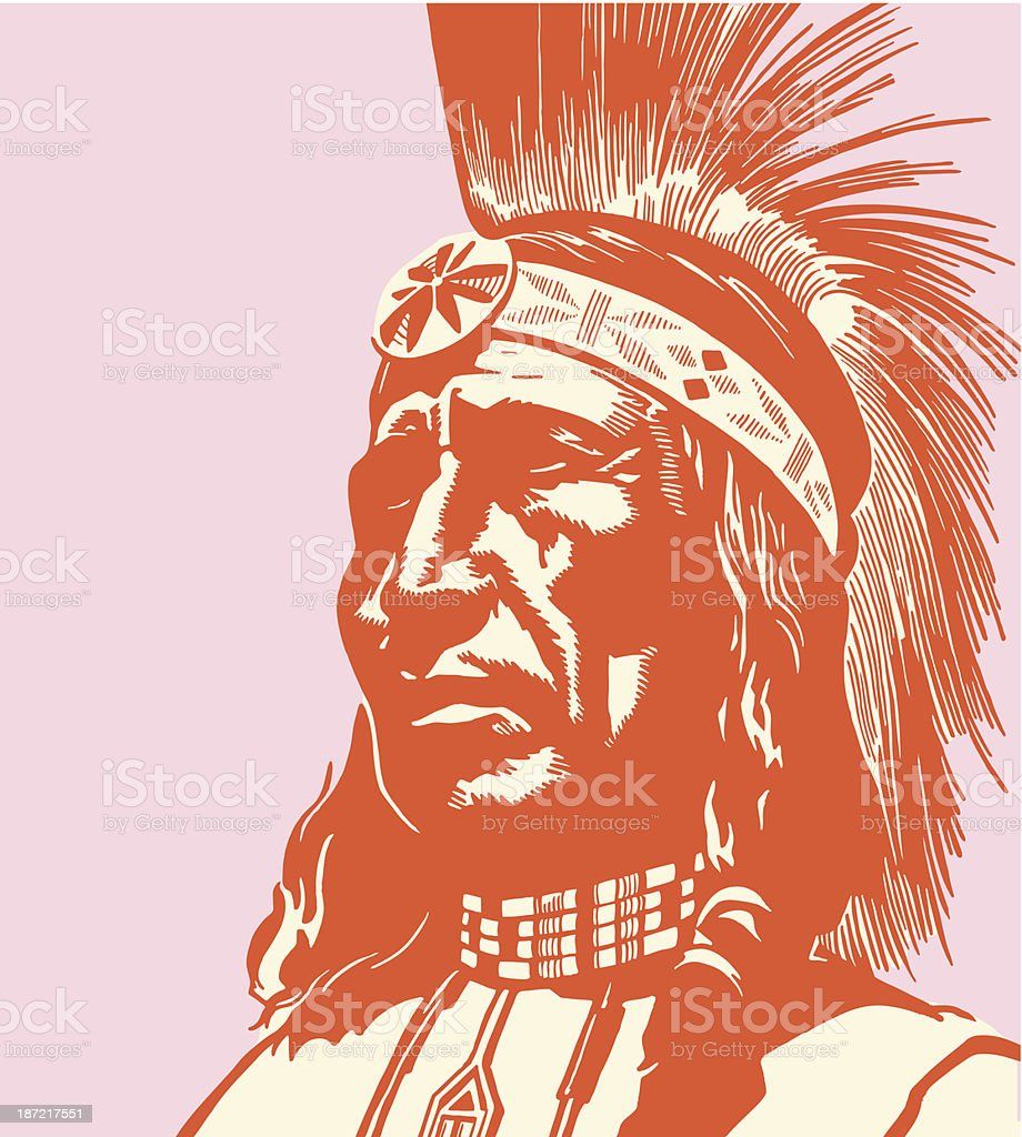 Portrait of an Indian Chief vector art illustration