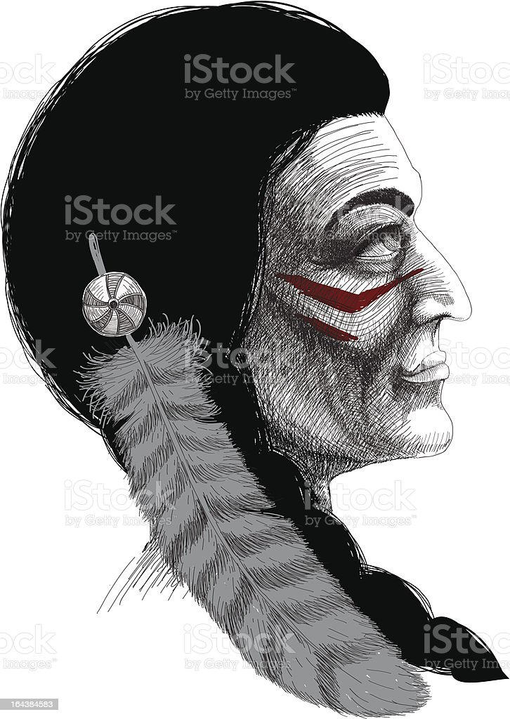 Portrait of an Indian warrior royalty-free stock vector art