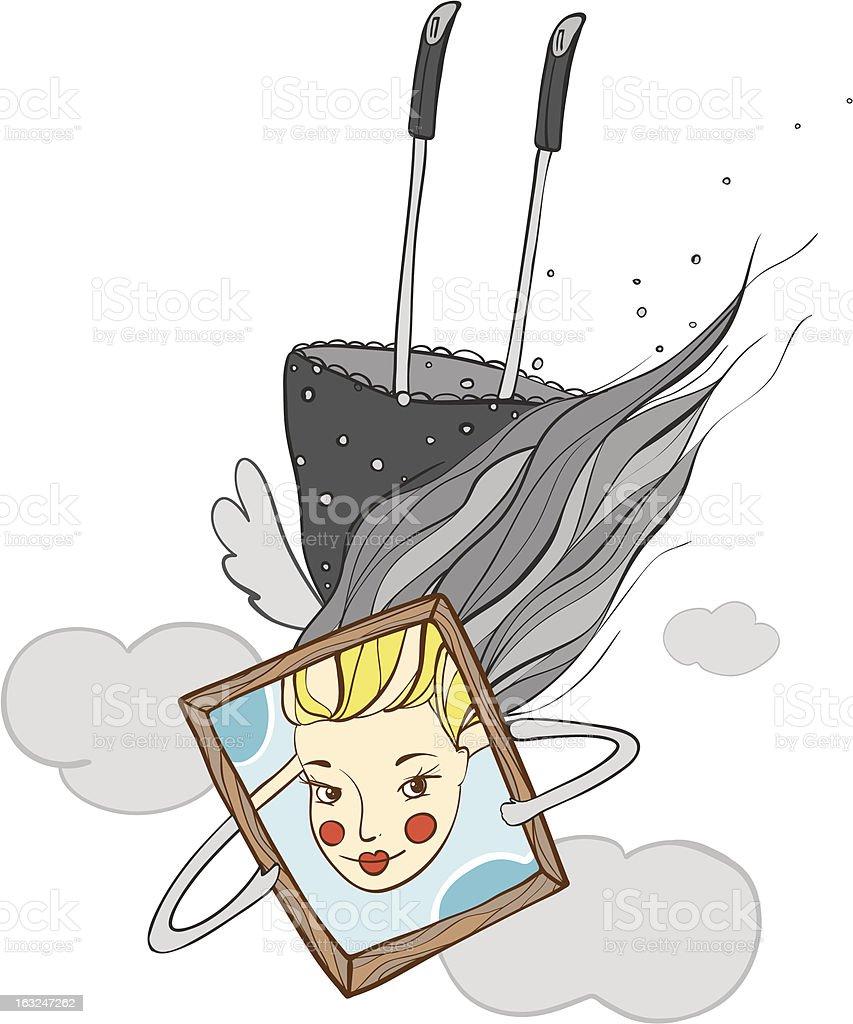 Portrait of Beautiful Girl Cartoon royalty-free stock vector art