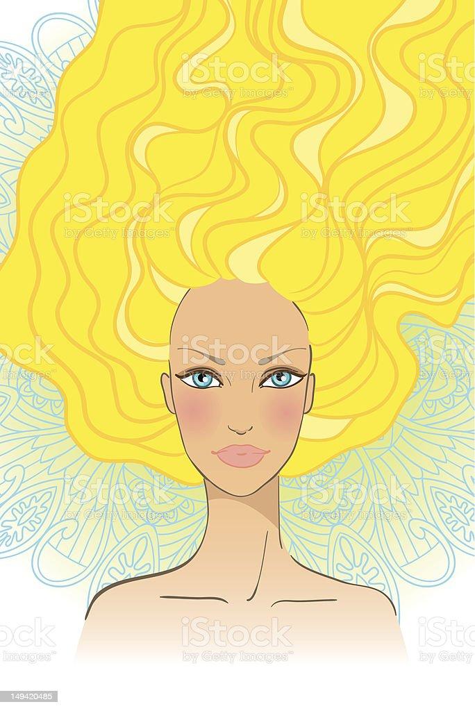 Портрет Красивая девушка с длинными волосами векторная иллюстрация