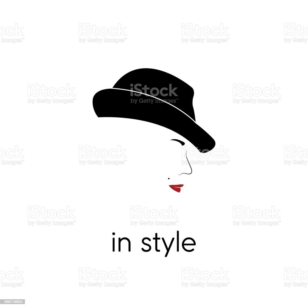 Portrait of beautiful woman in hat with an inscription: in style. Vector illustration. vector art illustration