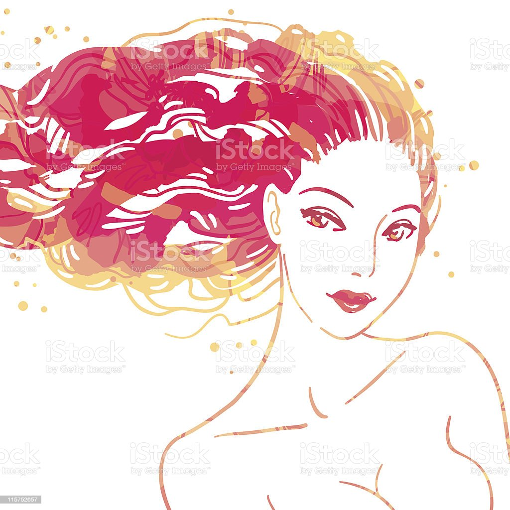Portrait of beautiful women with long hair royalty-free stock vector art