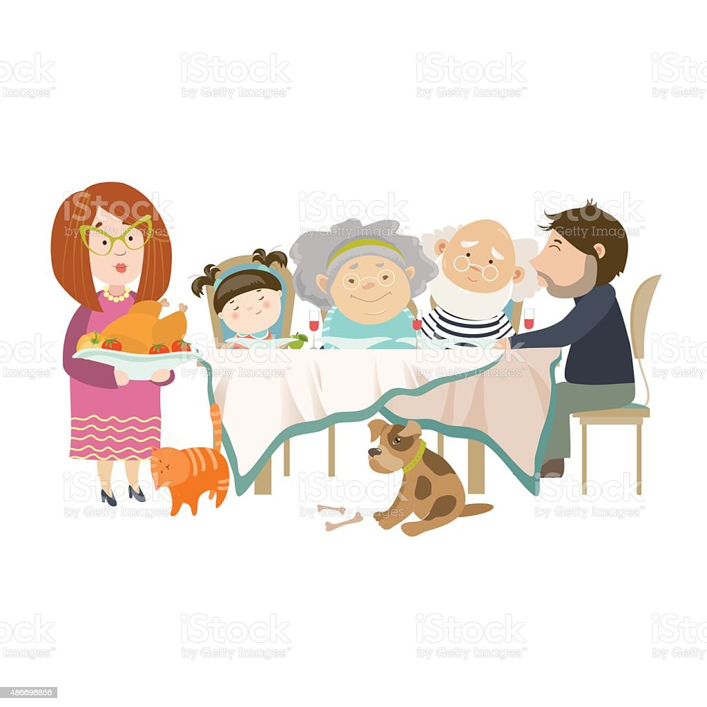 Portrait of big family sitting at the table vector art illustration