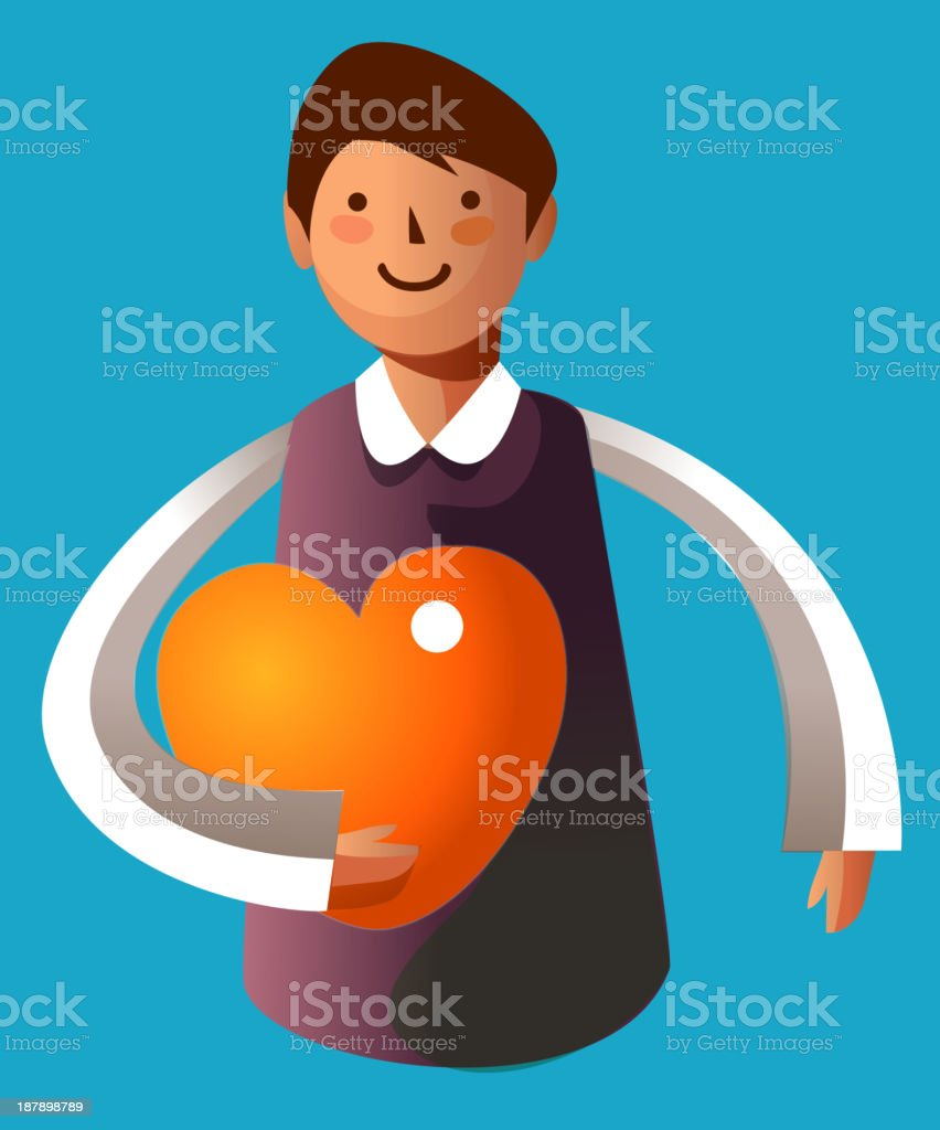 Portrait of boy holding heart shape royalty-free stock vector art