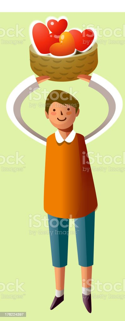 Portrait of boy holding hearts shape in basket royalty-free stock vector art
