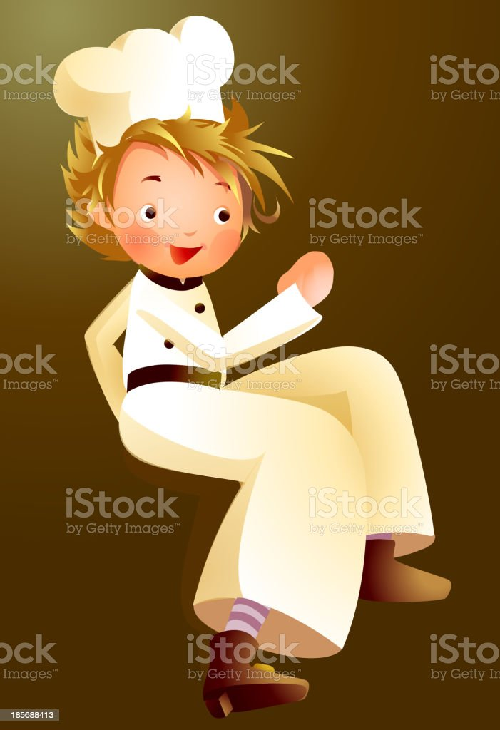 Portrait of boy in chef uniform royalty-free stock vector art