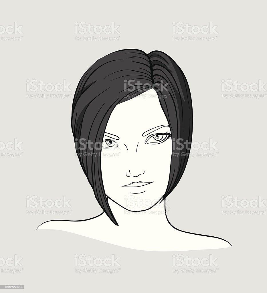 Portrait of brunette woman? vector art illustration