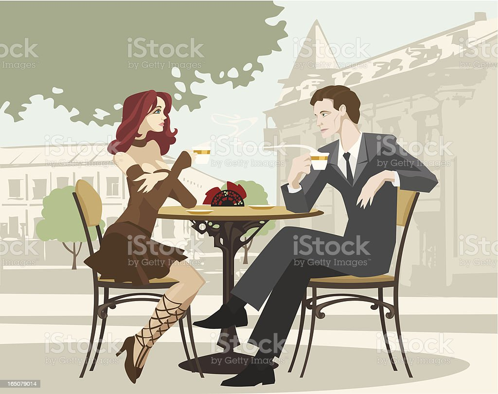 Portrait of Couple Drinking Coffee at Outdoor Cafe vector art illustration