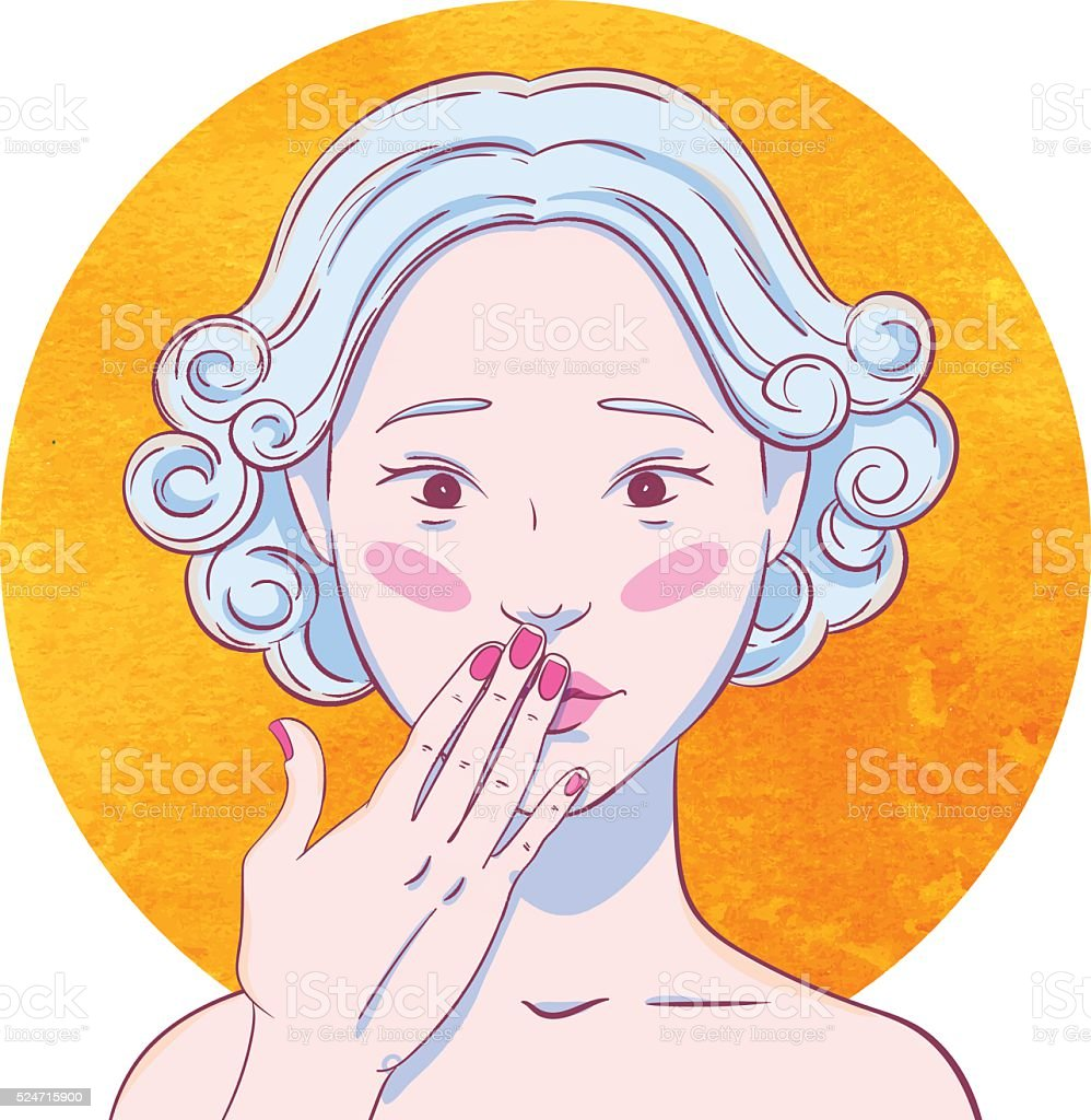 Portrait of curly chastened young asian girl vector art illustration