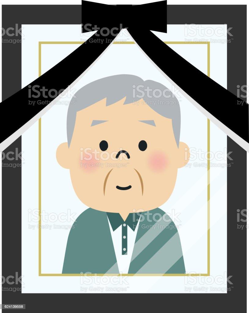 Portrait of deceased person photo vector art illustration