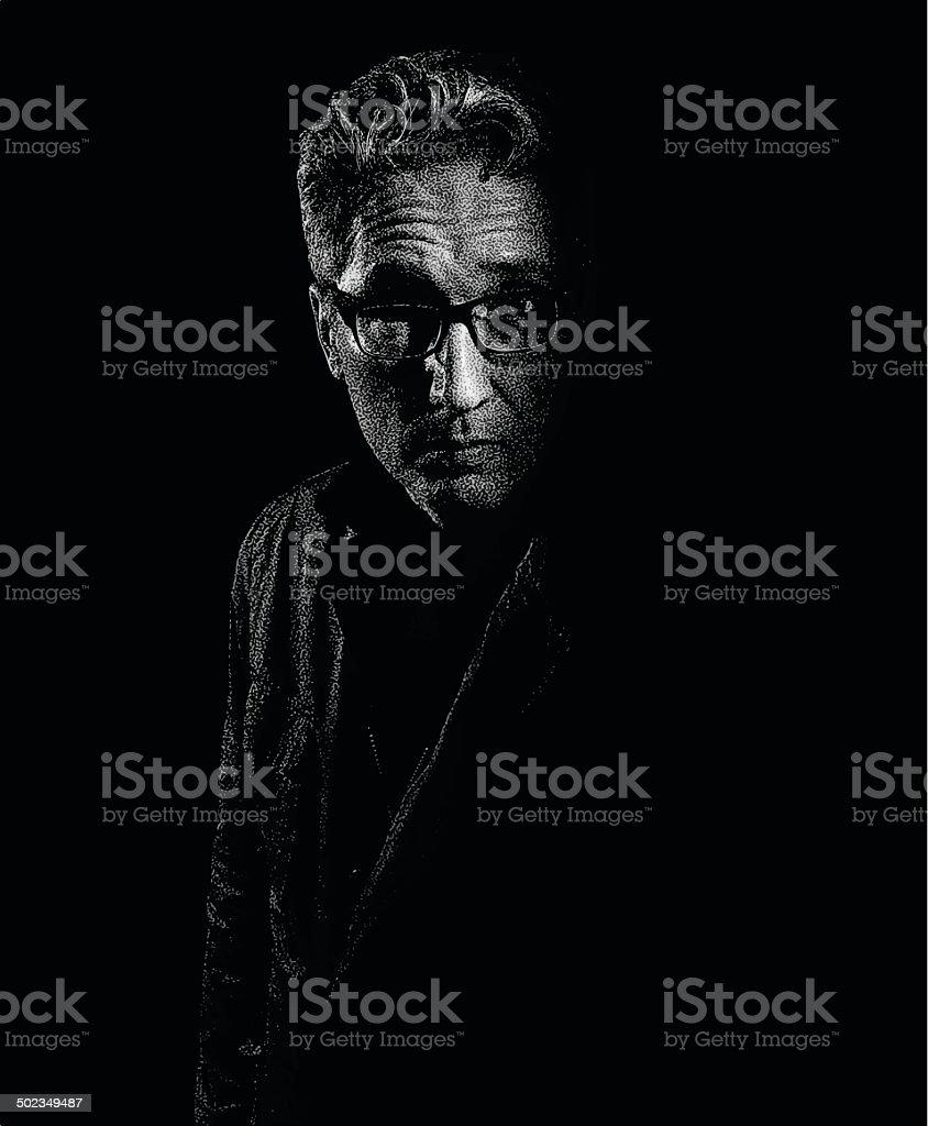 Portrait Of Depressed Man royalty-free stock vector art