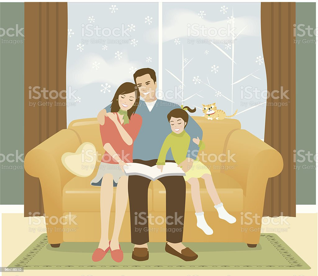 Portrait of Family Reading on Couch vector art illustration