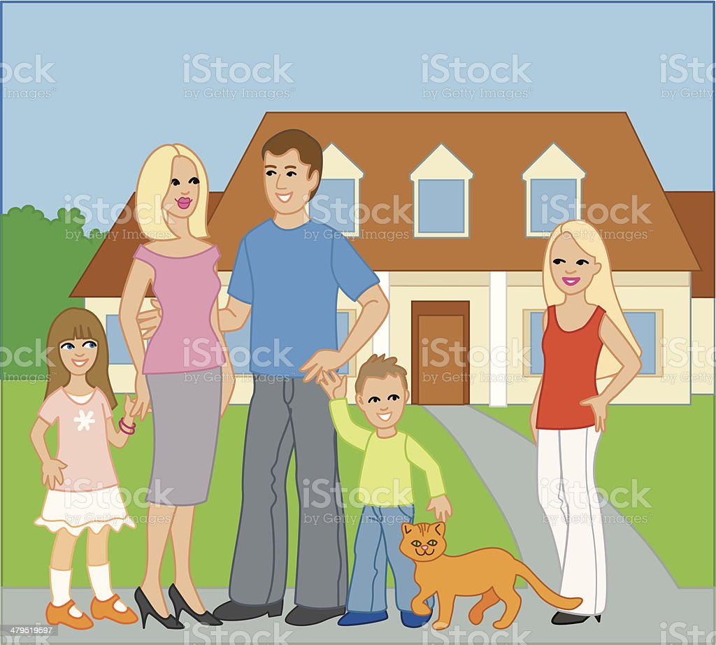 Portrait of Family Standing Outside Home, Three Kids and Cat royalty-free stock vector art