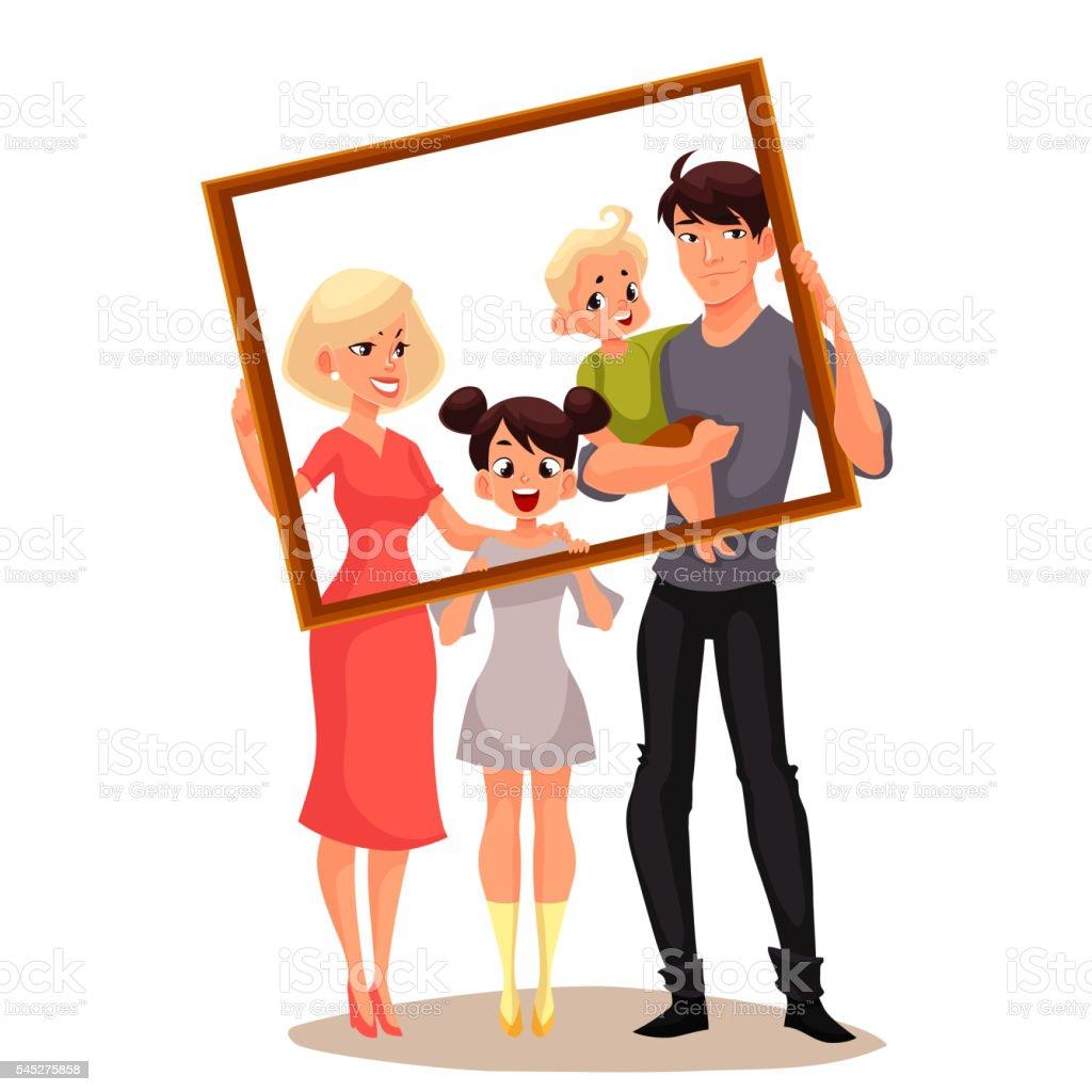 Portrait of happy family holding frame vector art illustration