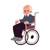 Portrait of happy old man sitting in wheelchair