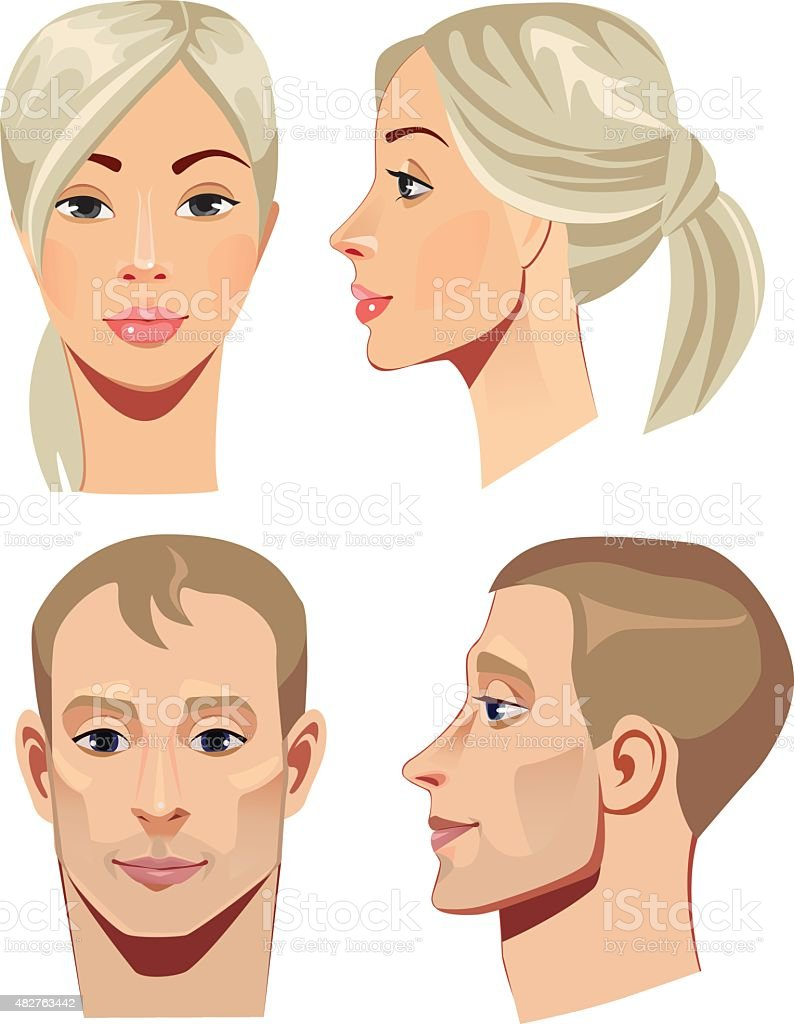 portrait of men and women in straight and profile vector art illustration