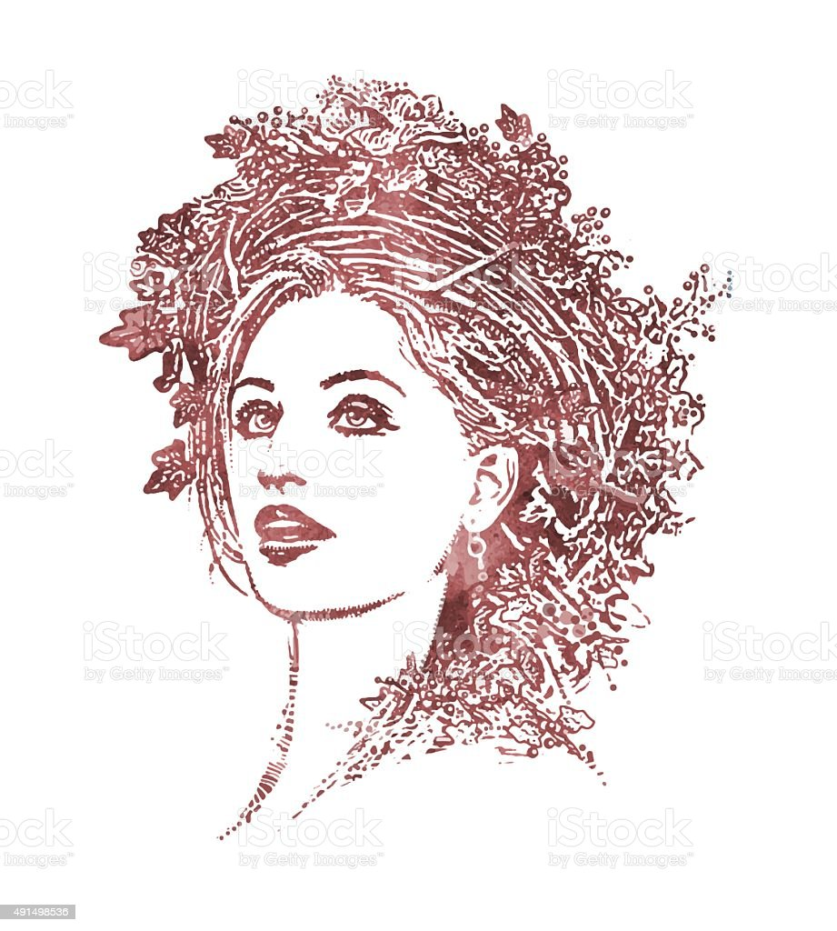 Portrait of Mother Nature wearing Floral Crown vector art illustration