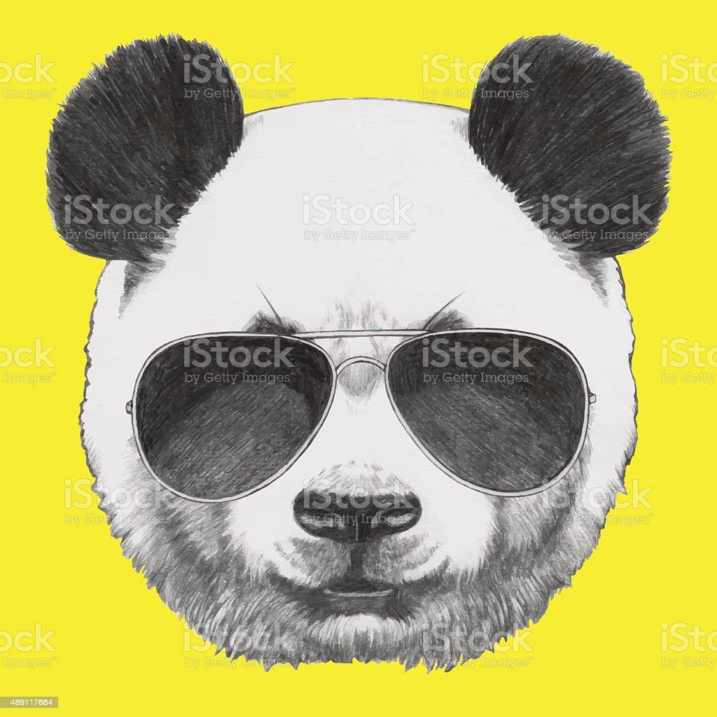 Portrait of Panda with sunglasses. vector art illustration