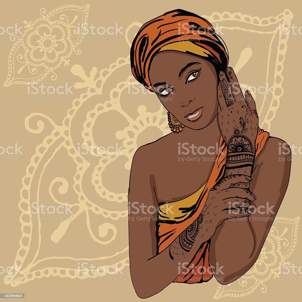 portrait of pretty indian ethnic Girl in traditional turban vector art illustration
