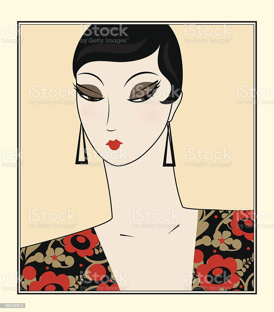 Portrait of retro woman royalty-free stock vector art