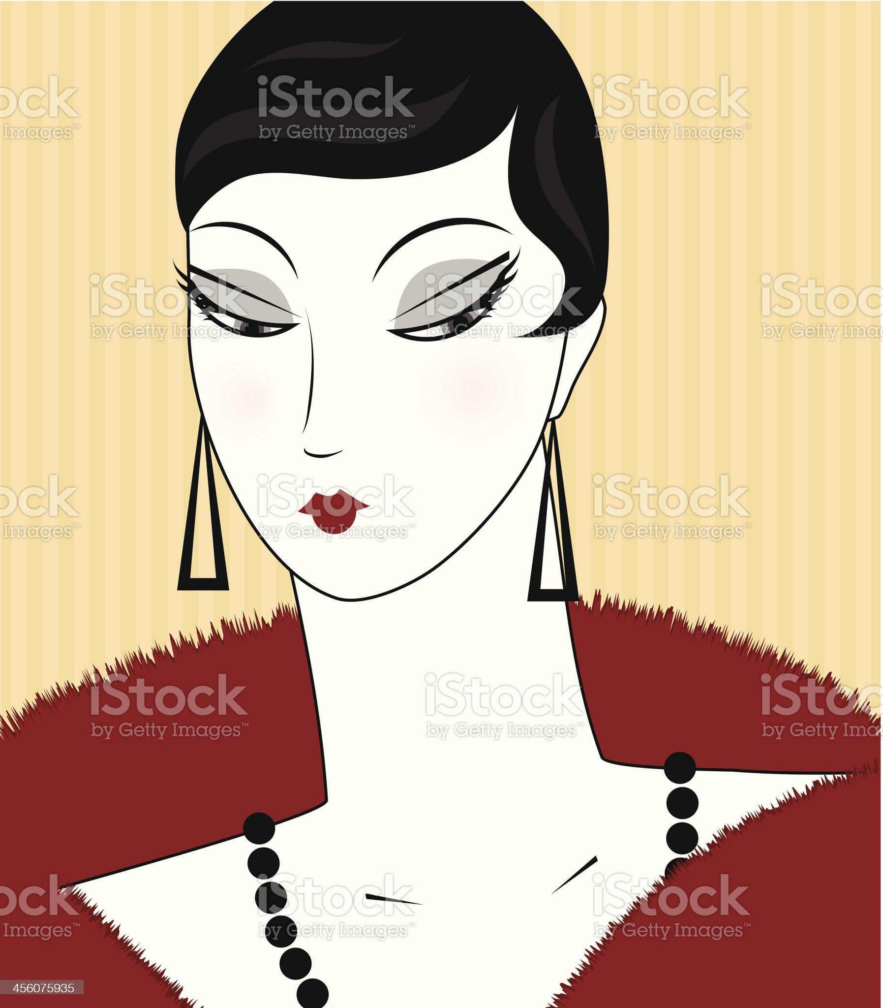 Portrait of retro woman royalty-free stock vector art