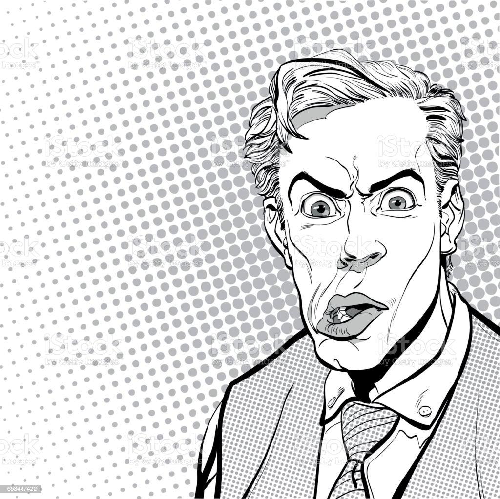 Portrait of scared man. Scared businessman. Surprised man. Pop art retro style illustration. People in retro style. Halftone background. Man's face vector art illustration