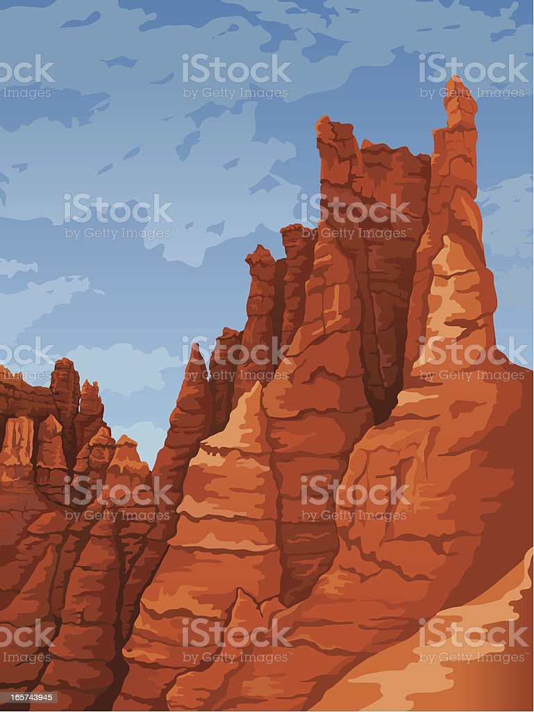 Portrait of stone formations at Bryce Canyon National Park vector art illustration