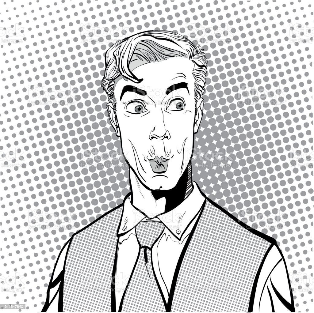 Portrait of surprised man. Surprised businessman. Surprised man. Concept idea of advertisement and promo. Pop art retro style illustration. People in retro style. Halftone background. question what vector art illustration