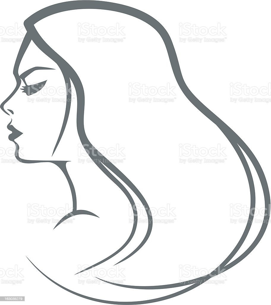 Portrait of the girl with long hair royalty-free stock vector art