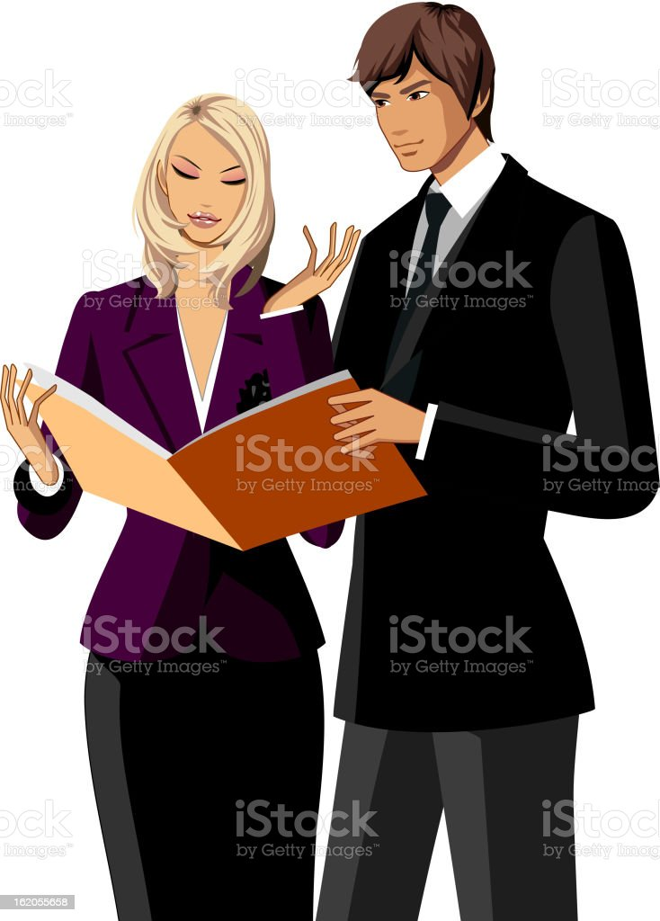 Portrait of two business people royalty-free stock vector art
