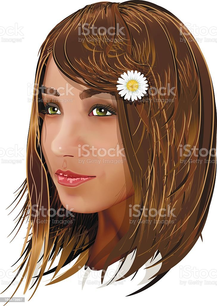 Portrait of young girl royalty-free stock vector art