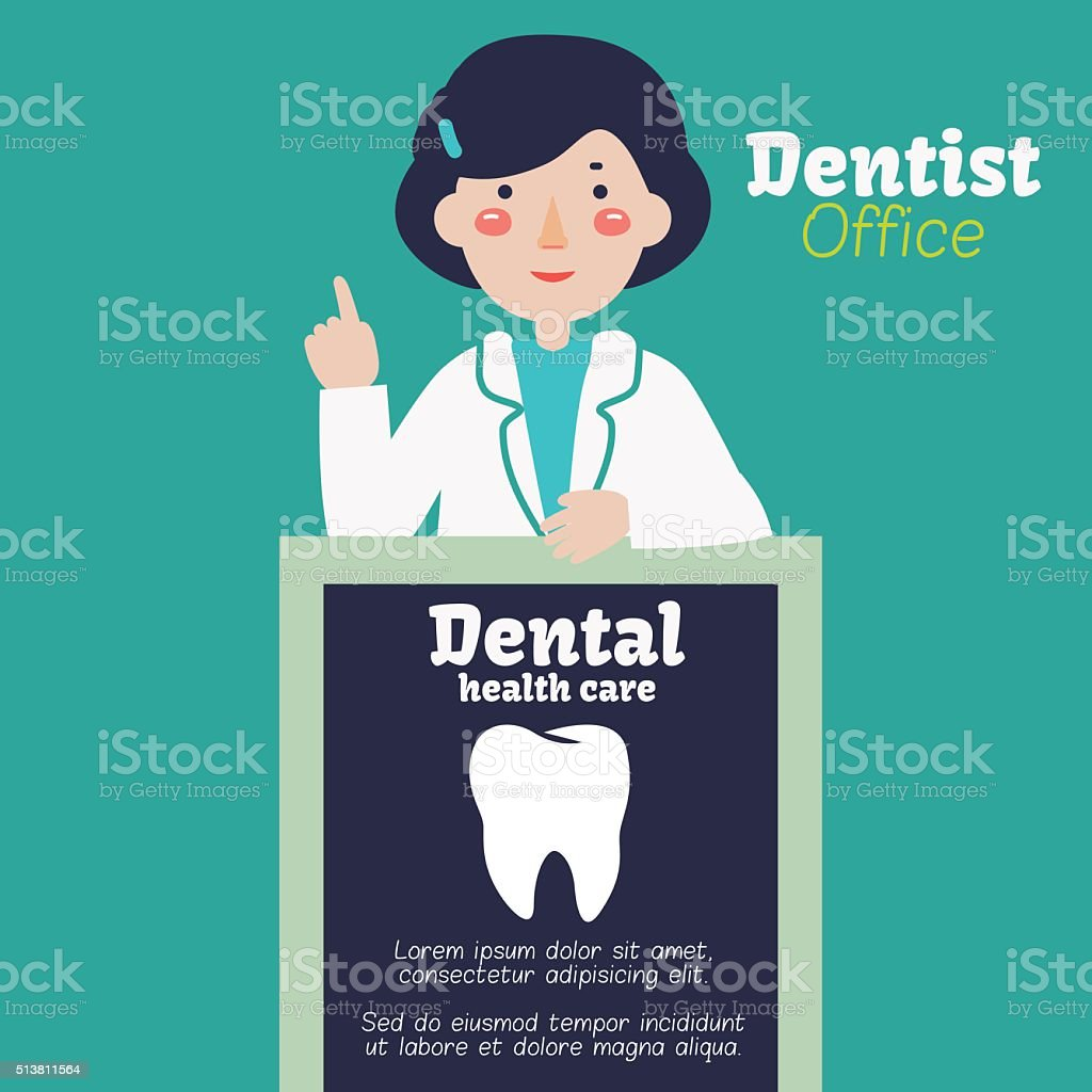 Portrait of young happy smiling female dentist with black billboard vector art illustration