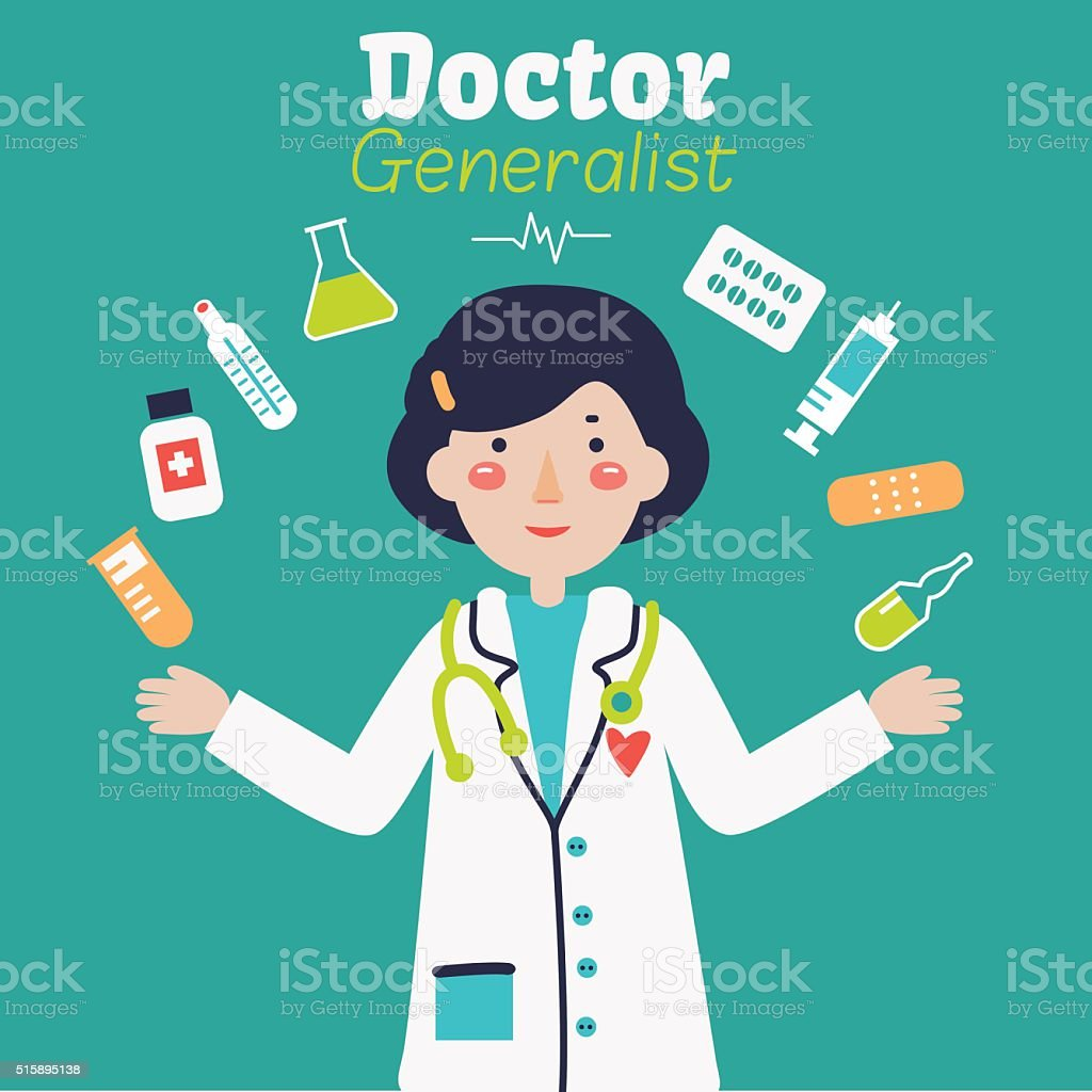 Portrait of young happy smiling female doctor with medical icons vector art illustration