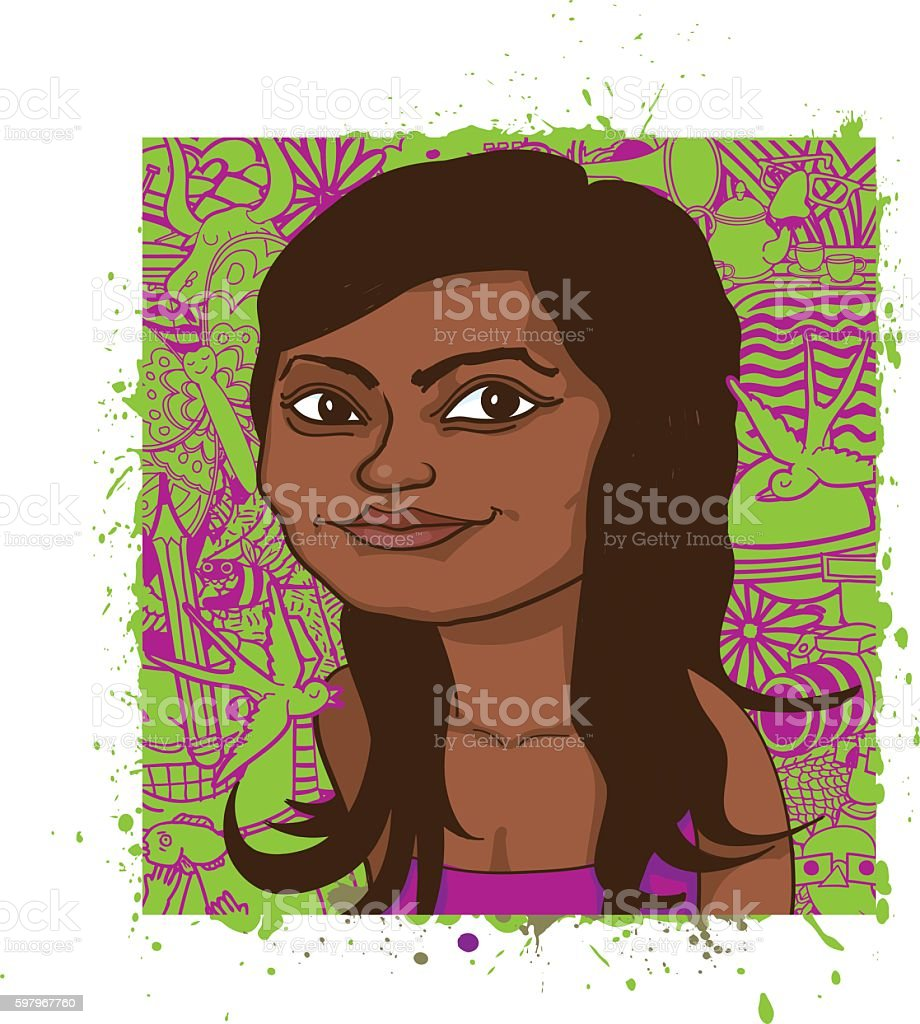 Portrait of Young Woman on a Creative Green Art Background vector art illustration