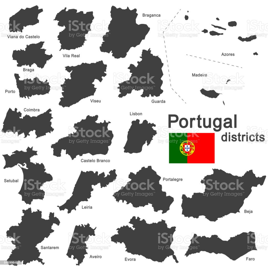 Portugal and districts vector art illustration