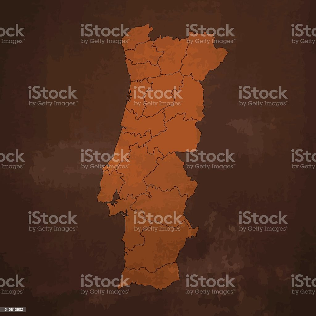 Portugal brown map on rusty grunge background vector art illustration