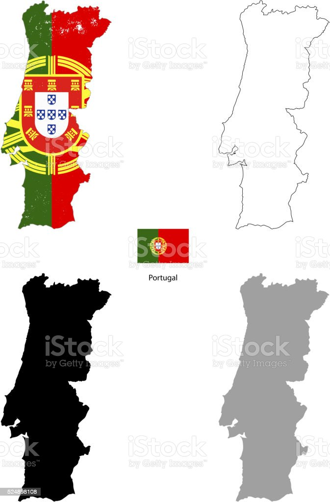 Portugal country black silhouette and with flag on background vector art illustration