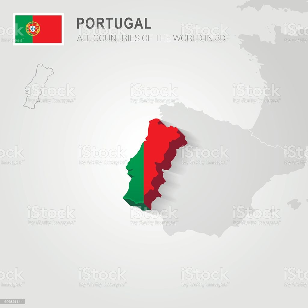 Portugal. Europe administrative map. vector art illustration