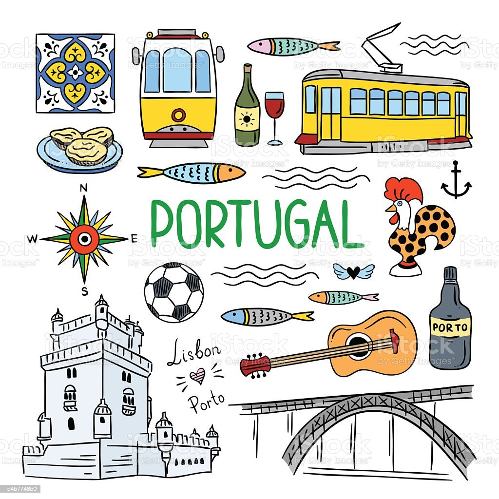 Portugal hand drawn objects icons. Lisbon and Porto travel icons vector art illustration