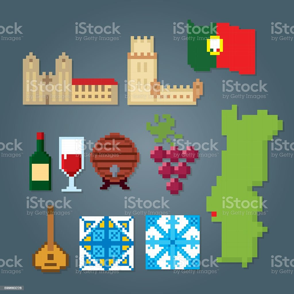 Portugal icons set. Pixel art. Old school computer graphic style vector art illustration