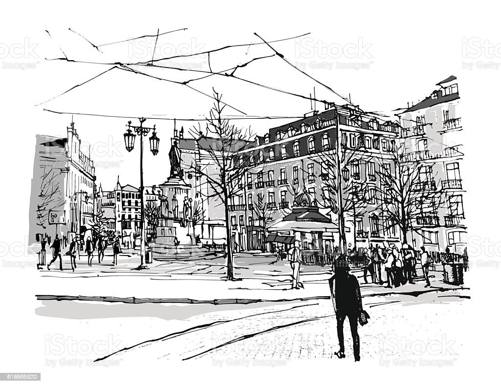 Portugal, Lisbon Chiado square vector art illustration