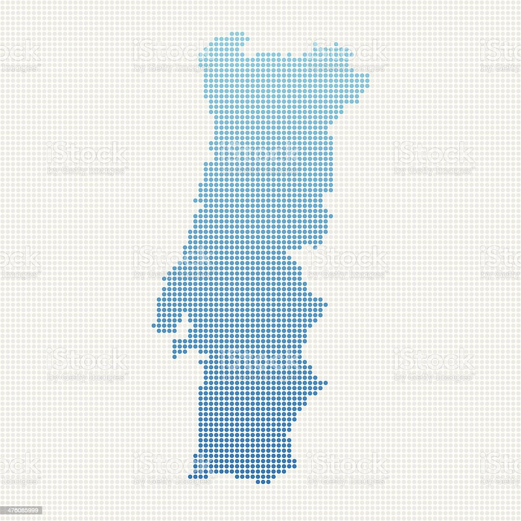 Portugal Map Blue Dot Pattern vector art illustration